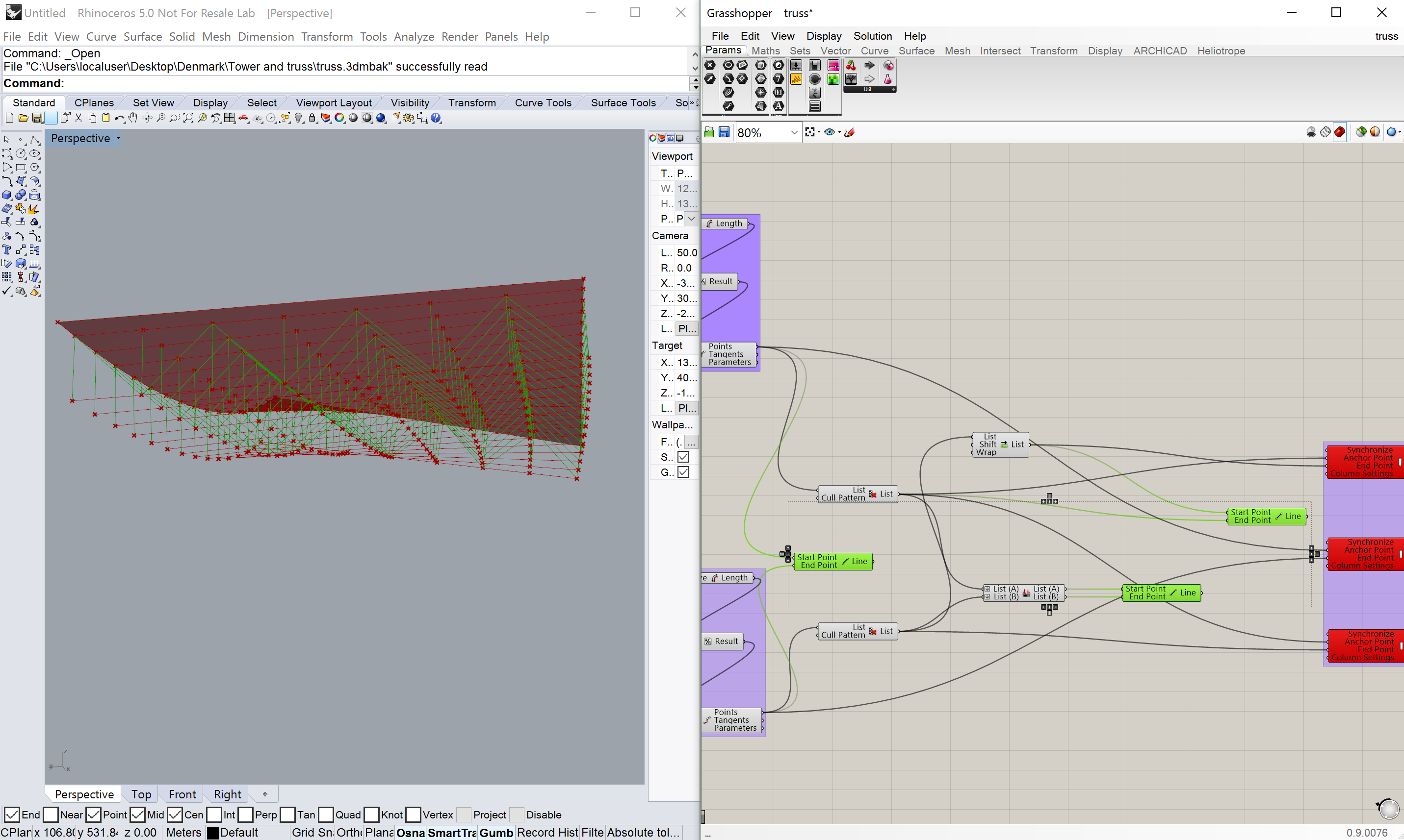 Algorithmic design and the bim workflow chapter 7 algorithmic truss if you select the line components in this view you can see the grasshopper geometry highlighted in rhino that defines the archicad columns hexwebz Gallery